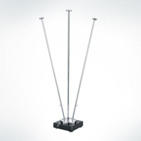 Triple Top Flagpole – Golden & Silver 1